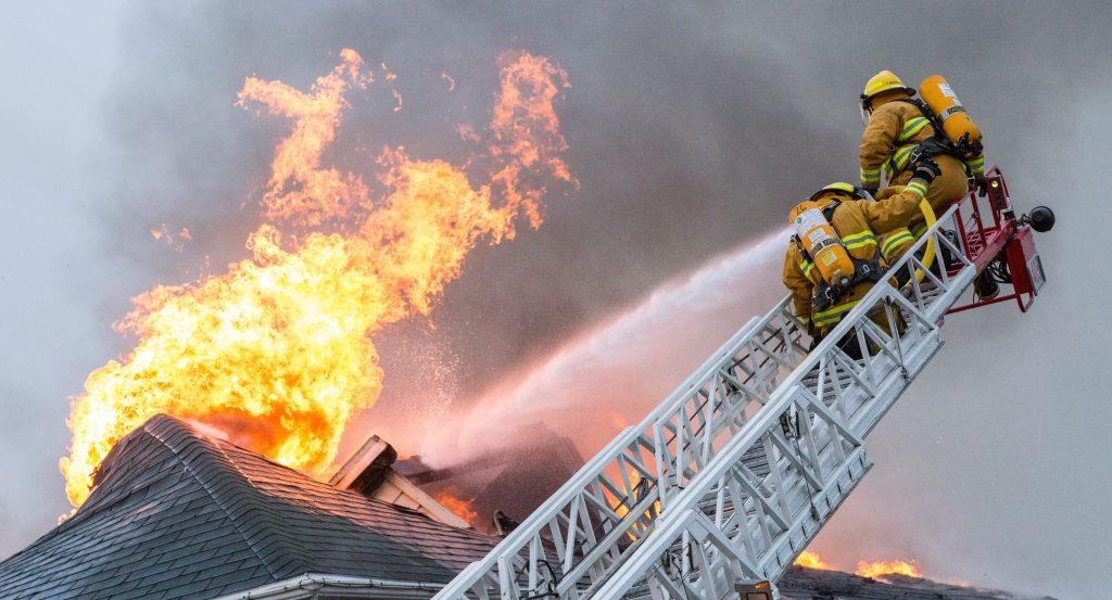 fireman fighting home fire
